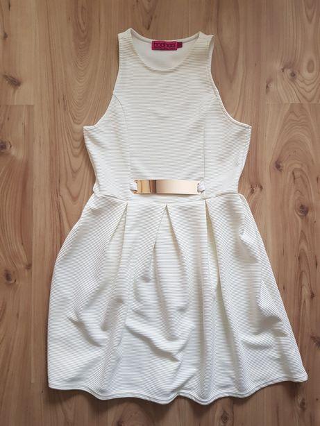 BOOHOO biała ecru sukienka *złota blaszka* 40/42