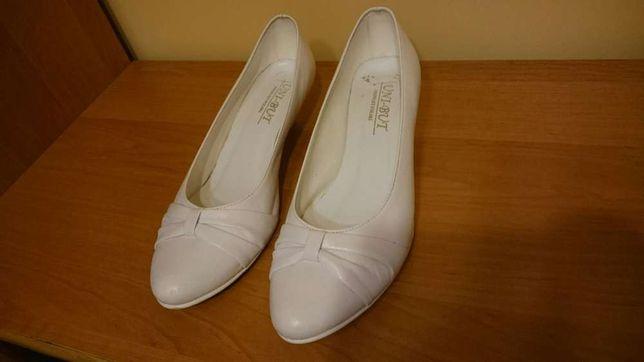 Ślubne buty skórzane niski obcas rozmiar 38