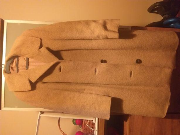 Karmelowy płaszcz wełna 100% alpaka