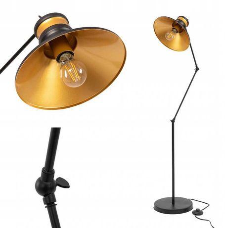 LAMPA stojąca podłogowa LOFT CZARNA Złota Gold