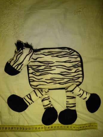 Детская косметичка сумка мягкая игрушка пенал подушка зебра