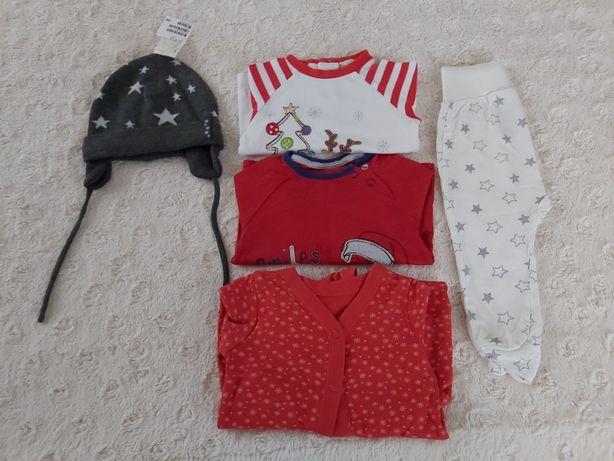 Świąteczny zestaw roz. 68 pajac, bluzki, czapka, półśpioch