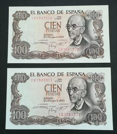 NUMERAÇÃO SEGUIDAS, 100 pesetas de 1970 UNC.