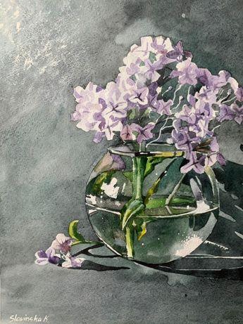 Интерьерная картина в спальню цветы - Сирень, акварелью ручная работа