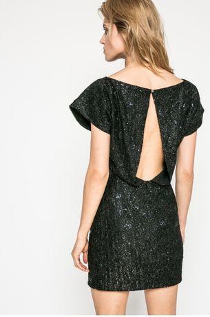 Kiss My Dress błyszcząca czarna CEKINY koktajlowa sukienka S 36
