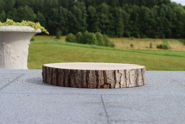 Plastry drewniane Dąb szlifowany z korą 35 - 40 cm GRUBY 6 cm!!!