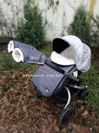 Конверт на выписку на овчине Чехол зимний в коляску санки теплый kids
