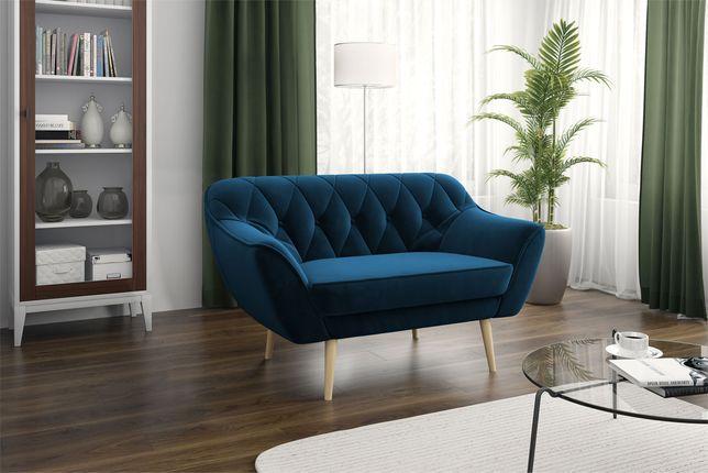 Sofa dwójka wolnostojąca, kanapa dwuosobowa granatowa - Dostawa