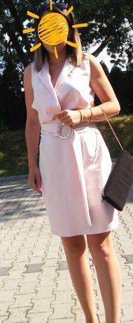 Przepiękna sukienka M L pudrowy róż