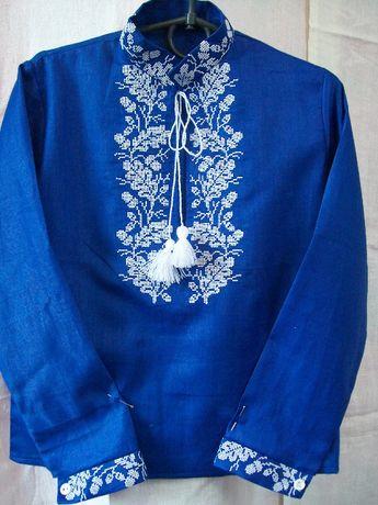 Синяя вышиванка на мальчика 6-7 лет