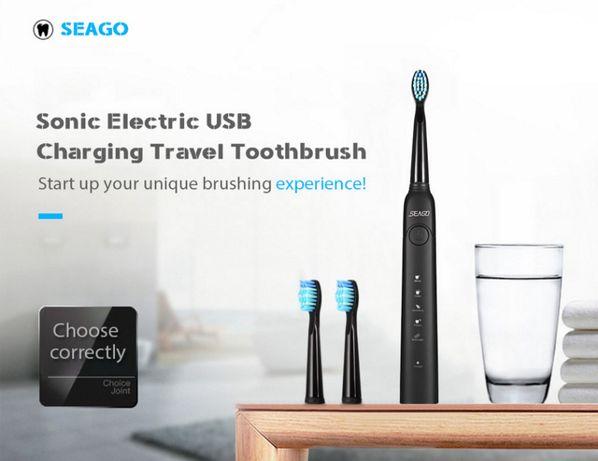Электрическая звуковая зубная щетка SEAGO (5 режимов работы) + Подарок