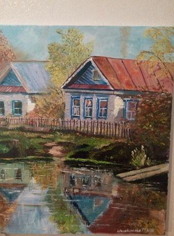 Картина от художника. Холст, масло. Сельский пейзаж.