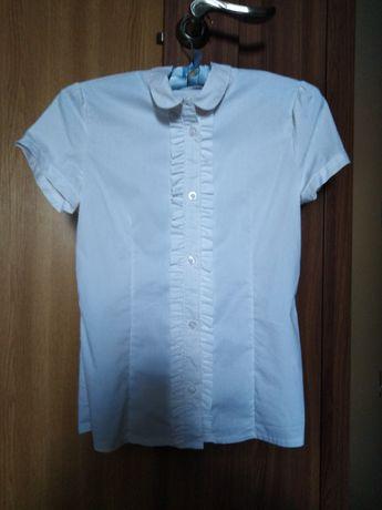 Белая рубашка для девочки 8-9-10 лет короткий рукав