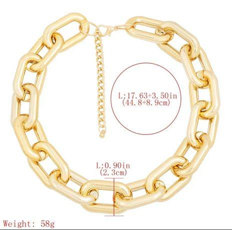 HIT Nowy gruby stylowy łańcuch naszyjnik choker złoty