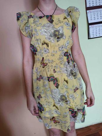 Sukienka XS/34 żółta w kwiaty