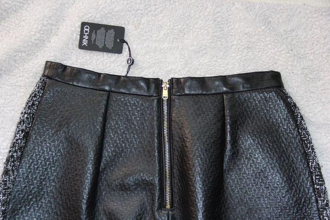 Czarna skórzana spódniczka OCHNIK skóra owcza spódnica pepitko s 36
