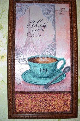 Картина для интерьера кухни, вышитая бисером.