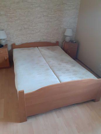 Łóżko sypialniane dzielone 140x200 z materacami i pojem. pościel olcha