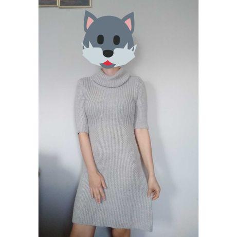 Sukienka sweterkowa z golfem dopasowana sweter gruba zimowa beżowa s