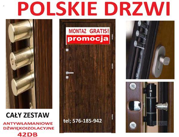 wyciszone drzwi z MONTAŻEM ,wejściowe-zewnętrzne ,WYPRZEDAŻ ,Polskie