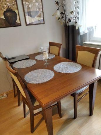 stół rozkładany z krzesłami kent black red white