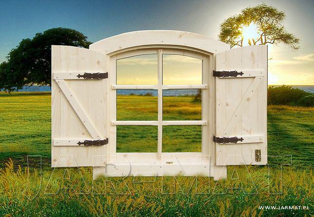 Okna Drewnine Świerkowe z Okiennicami 80x90 Domy Drewniane