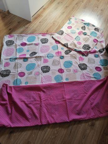 Piękna różowo Biała pościel 200x220 + poduszki