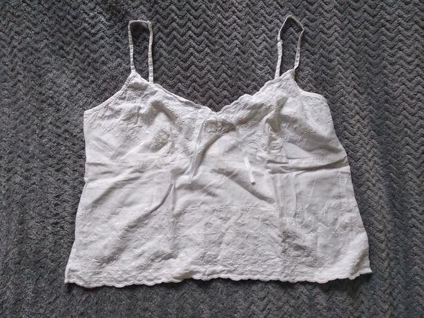 % WYPRZEDAŻ SZAFY krótki biały top koszulka boho L XL