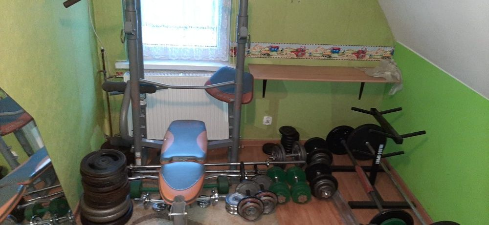 Domowa siłownia,około 500kg,obciążenie żeliwne,ławka,stojak,hantle itp