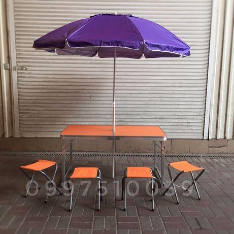 Усиленный стол + 4 стула с ЗОНТОМ. Раскладной столик для пикника
