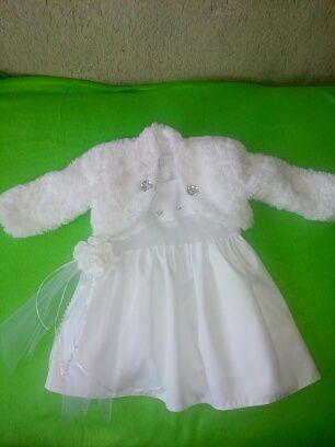 sukienka do chrztu dla dziewczynki 62-68,74 (zestaw)