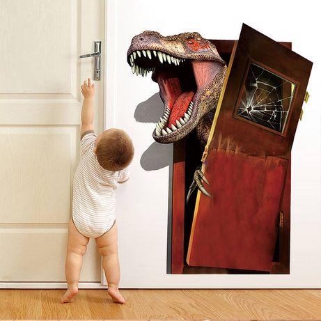 Виниловая наклейка на стену 60 х 45 см Динозавр Рекс, Майнкрафт Крипер