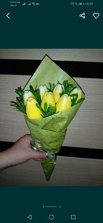 Букет цветов на 8 марта. Мыло. Розы. Тюльпаны. Количество ограниченн