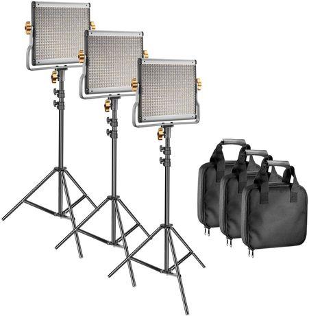 Kit de 3 paineis LED Projectores Fotografia Vídeo Painel LEDS