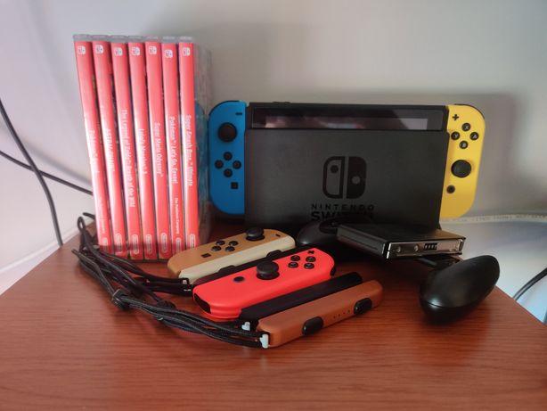 Nintendo Switch (v1) + 2 Comandos Joycon + 7 jogos + Estojo