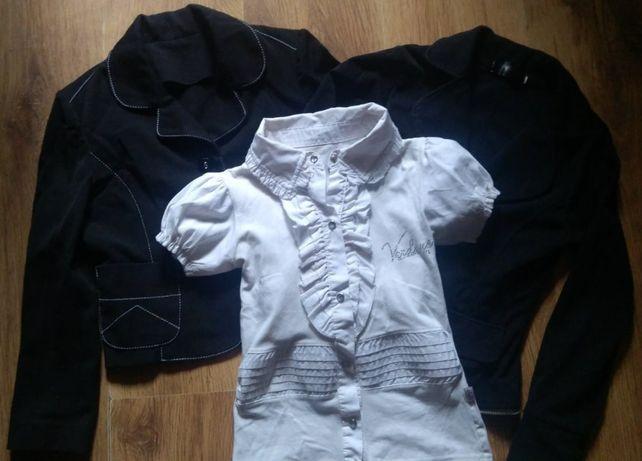 Жакет школьный для девочки 6-9 лет (2 шт.) и блузка с коротким рукавом