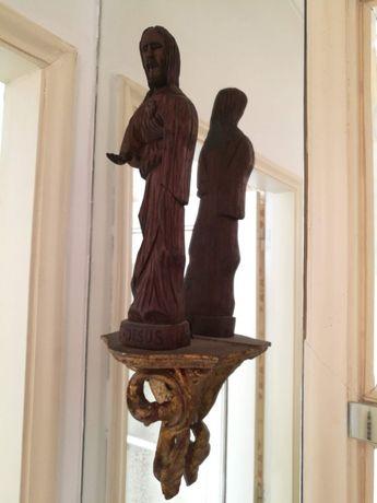 Estátua Coração de Jesus 34cm + mísula dourada