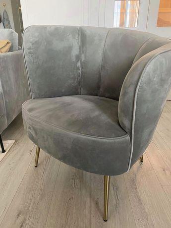 Fotel - aksamit szary