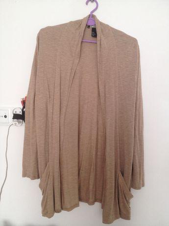 Sweterek dzianinowy/narzuta H&M Beż r. M