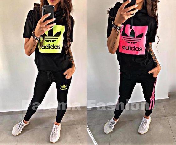 Dres zestaw damski t-shirt koszulka spodnie Adidas Nike s m l xl neon