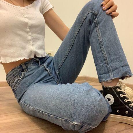 Синие джинсы Mom Cropp