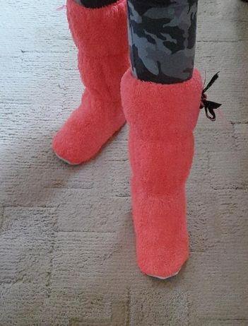 Детские флисовые, махровые розовые домашние тапки, сапоги, угги