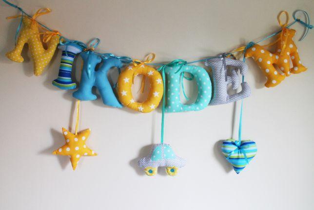 Kolorowe bajkowe szyte literki z imienim dziecka do zawieszenia 15 cm