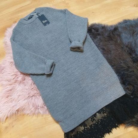 Szara sukienka dzianinowa z koronką M długi sweter  Hit