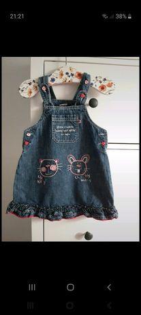 Jeansowa sukienka w kotki 86cm