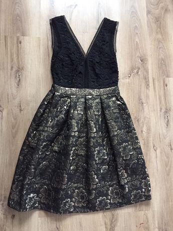 Sukienka S czarna złota koronka midi