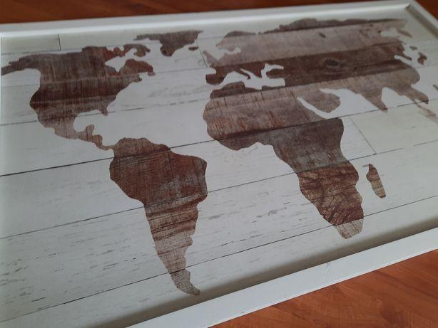Obraz mapa świata bialy brąz