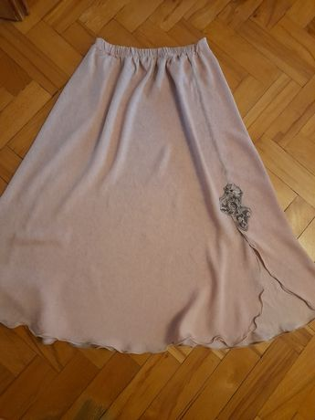 Pudrowa maxi długa spódnica różowa 38/40 M L  rozcięcięcie rozporek