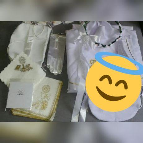 Wianek + torebka + rękawiczki +sweterek - Komunia, do alba, na ślub