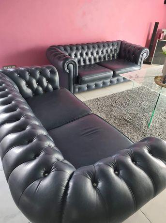 Kanapy sofy typ Chesterfield z kryształkami funkcja spania